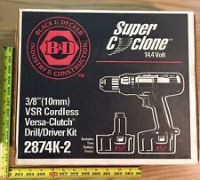 """B&D Cordless Drill Kit 3/8"""" 14.4V with 2 Batteries Charger Super Cyclone 2874K-2"""