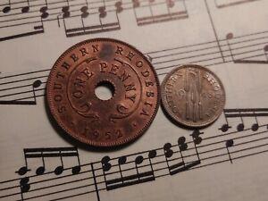 SOUTHERN RHODESIA 1 penny 1952 + 3 pence 1948 KM25+20 GVI Toned TOP GRADE PAIR !