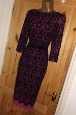 Purple black vintage 40s 50s stretch pencil wiggle bodycon party dress size 14
