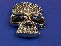 Carroo signed Silver tone 3D figural 3D skull Black eyes rhinestone Belt Buckle