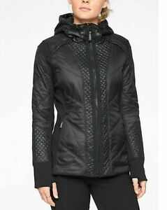 ATHLETA Rock Ridge Coat  L Tall LT  Black NEW #350851 CYA Longer Length Hooded