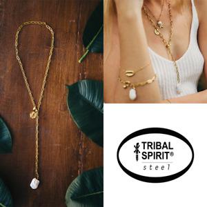 Tribal Spirit lange Glieder-Y-Kette Edelstahl Barockperle 18 Karat vergoldet