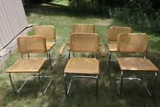 6 RARE 1920s Cesca Dining Cane arm chairs Marcel Breuer thonet