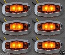 6x 12v LED Ámbar Lado Cromo marcador Luces Para Camión Camión Bus MAN DAF IVECO