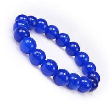 10mm blue Jade Prayer Beads Elastic Stretch Beaded Bracelet 7.5''