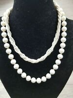 Vintage 1950s Milk Glass Seed Bead Twist Rope & large White Beaded Necklaces lot