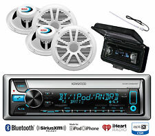 "Antenna, Kenwood Bluetooth CD USB Marine Radio, Cover, 4 Marine 6.5"" Speaker Set"