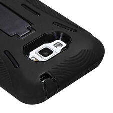 LG Optimus Elite LS696 Impact Hard Rubber Case Phone Cover with Kick Stand Black