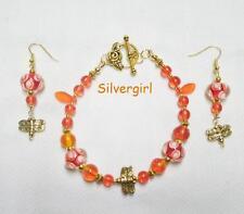 Orange Gold Plated Dragonfly Glass Beaded Bracelet and Earring Set