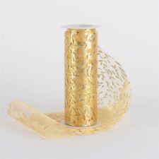 """6"""" x 10 YRDS METALLIC LEAF PRINT ORGANZA ROLL SPOOL GOLD AND SILVER"""
