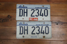 """American License plate Illinois """"Land of Lincoln"""" pair  # DH 2340"""