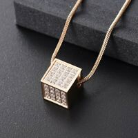 Rose Gold Diamante Cube Cremation Urn Pendant Ashes Necklace Funeral Memorial