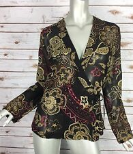 Chicos Wrap Top 4012 Womens Size 0 Black Red Gold Floral Print Silk Chiffon