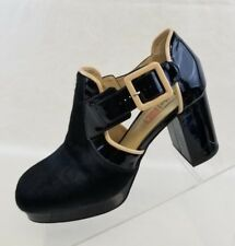 Orla Kiely Clarks Dilly Platform Black Patent Leather Womens Calf Hair Heels 7M