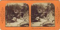 Pont Spagna Gauterets Foto Stereo Diorama Tessuto Vintage Albumina Ca 1870