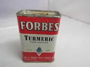 VINTAGE ADVERTISING SPICE TIN FORBES TURMERIC COLLECTIBLE TIN   S-1020