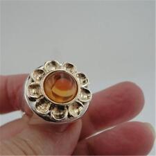Hadar Designers 9k Yellow Gold Handmade Sterling Silver Amber Ring 7.5, 8 (H) Y