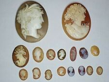 Collection of vintage & antique unmounted Cameo Brooch Pendant and earring