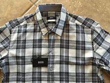 Hugo Boss Black Label Robbie Button Down Shirt Mens XL Slim Gray Plaid NWT $155