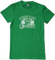 This Boy Loves Christmas Kids Youth T-Shirt Tee Santa Claus Xmas Cute Tree