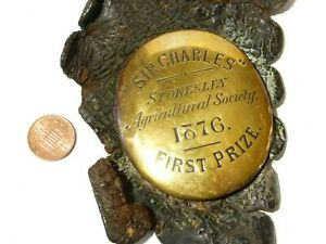 1876 Sir Charles Stokesley Agricultural Society 1st Prize HORSE BRASS Rare
