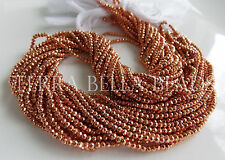 "12.5"" strand metallic copper coated PYRITE faceted gem stone rondelle beads 2mm"
