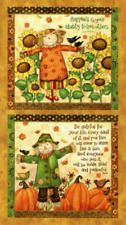 Grateful Harvest Panel by SPX Fabrics-Sunflowers-Crows-Scarecrows-Pumpkins