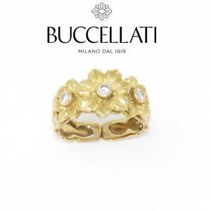 NYJEWEL Buccellati 18k Yellow Gold Floral Diamond Ring