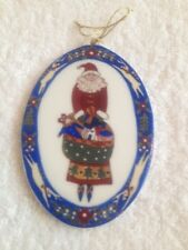 Cynthia Madrid Midwest Of Cannon Falls Oval Holiday Santa Ornament