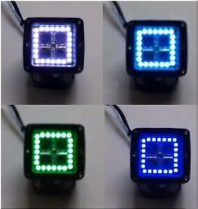 "2PC 3X3"" LED PODS CUBES MULTICOLOR HALO KIT RGB LED LIGHT BAR COLOR CHANGING"