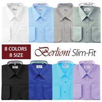 Berlioni Mens Regular Slim fit Convertible Cuff Solid Italian French Dress Shirt