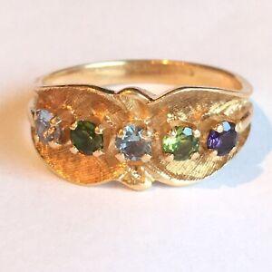 Vintage 14K Yellow Gold Florentine Rainbow Lab Created Stone Ring 1950s