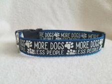 "MORE DOGS LESS PEOPLE Black/Blue Glow-in-Dark 1"" Adj Dog Collar ~ Sz M 14-18"""