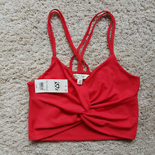 FA/47 Ladies MISS SELFRIDGE Size 6 Red Cropped Sleeveless Strappy Cotton Top NWT