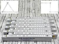 10x Hultafors Qualitäts Maßstab 2m Holz weiss + 90° Rastung + Winkelgradskala