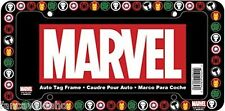 Marvel Comics Superhero Logo All Over Black Plastic Car Auto License Plate Frame