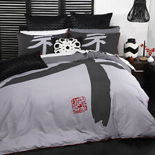 Logan and Mason HIKARI CHARCOAL Japanese King Size Doona Duvet Quilt Cover Set