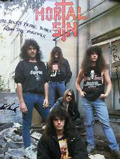 1989 signed PROMO record POSTER thrash metal MORTAL SIN face despair HARD ROCK