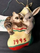 Charming Tails Dean Griff Bunny & Raccoon in Christmas Stocking 1995 Ornament