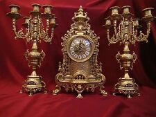 SET CHIMENEA Reloj de + 2x Sostenedores Vela latón soporte 5 brazos 41cm macizo