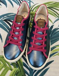 BNWOT Coach Blue Metallic Sneakers Trainers Pink Trim Size UK 4/ US 6/ EU 36.5