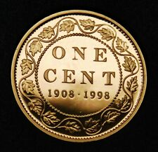 1908-1998 Canadian 1¢ sterling silver 90th ann. proof finish with copper plating