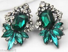 1 Pair Fashion Green Crystal Rhinestone  Ear Drop Dangle Stud long Earrings 260