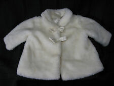 KOALA BABY BOUTIQUE FAUX FUR GIRL JACKET COAT OFF WHITE CREAM IVORY BOWS 3-6 M