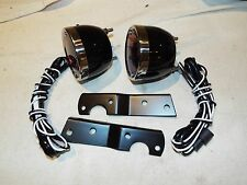 1955-56-57-58-59 Chevy Truck 2 Black Tail Light Assembly Kit w/Lens & Brackets
