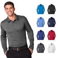 Mens Long Sleeve Polo Silk Touch Performance Sport Shirt 3-Button Golf K540LS