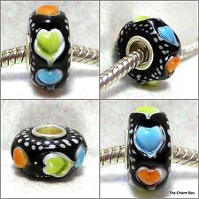 'LIQUORICE HEARTS' -Black/Pastel Hearts Murano Glass European Charm-Single Core