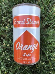 Bond Street Orange soda Can flat top.
