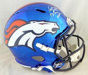 Peyton Manning Autographed Denver Broncos F/S Chrome Helmet- JSA W Auth *White