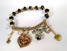 Vintage Betsey Johnson Bracelet Leopard Heart Bird Rhinestone Bow Charm Stretchy